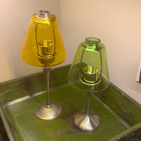 Set of two tea light candle holder
